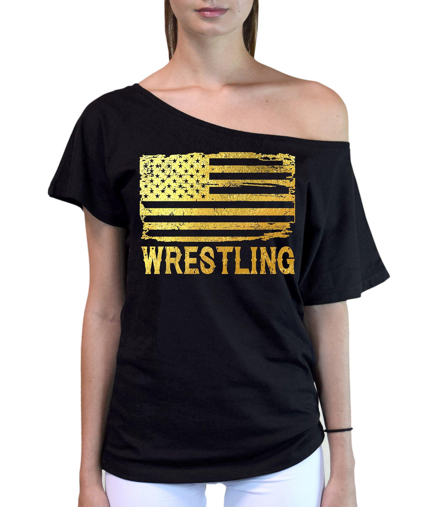 Interstate Apparel Inc Junior's Gold Foil Wrestling American Flag Black Off-Shoulder T-Shirt Large Black