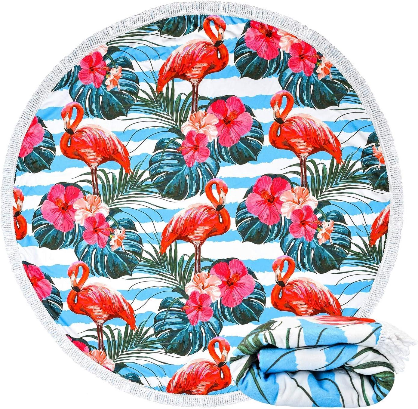 Hawaii Tropical Leaves Floral Yoga Mat 59 Microfiber Round Beach Blanket Sand Proof Oversized with Fringe Tassels Bonsai Tree Flamingo Round Beach Towel