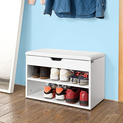 SoBuy® Wooden Shoe Cabinet, 2 Tiers Shoe Rack Shoe Storage Bench ...