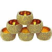 ShalinIndia Beaded Napkin Rings Set of 6 Golden Decorations Christmas Ornaments