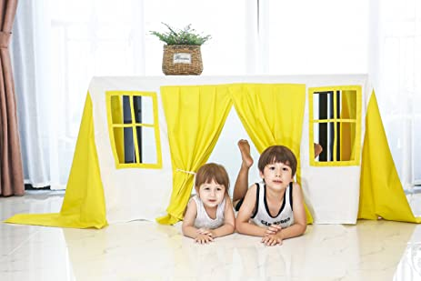 LoveTree Cotton Table Tent Kids Play Tent Kidu0027s Play Tablecovers Free Size Two Windows (Yellow  sc 1 st  Amazon.com & Amazon.com: LoveTree Cotton Table Tent Kids Play Tent Kidu0027s Play ...