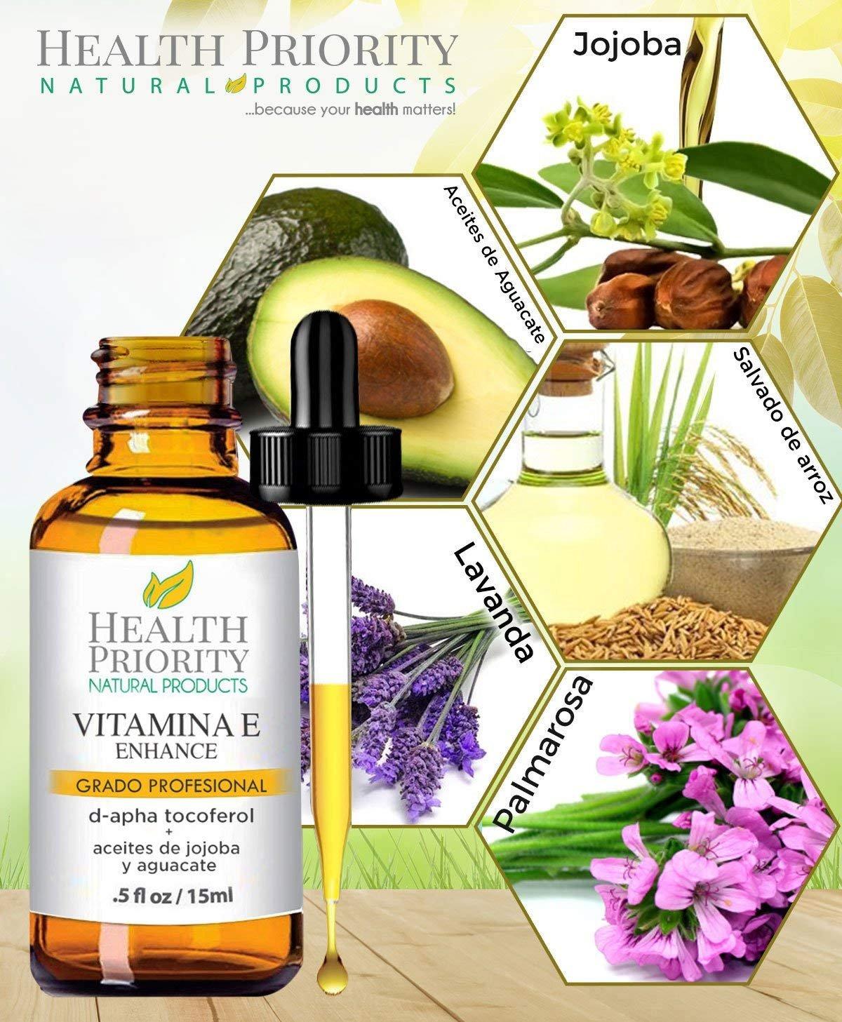 Aceite de Vitamina E Orgánico : 100% Natural : Para rostro y piel y mejor que en capsulas -15,000/30,000IU- Reduce las arrugas y aclara las manchas ...