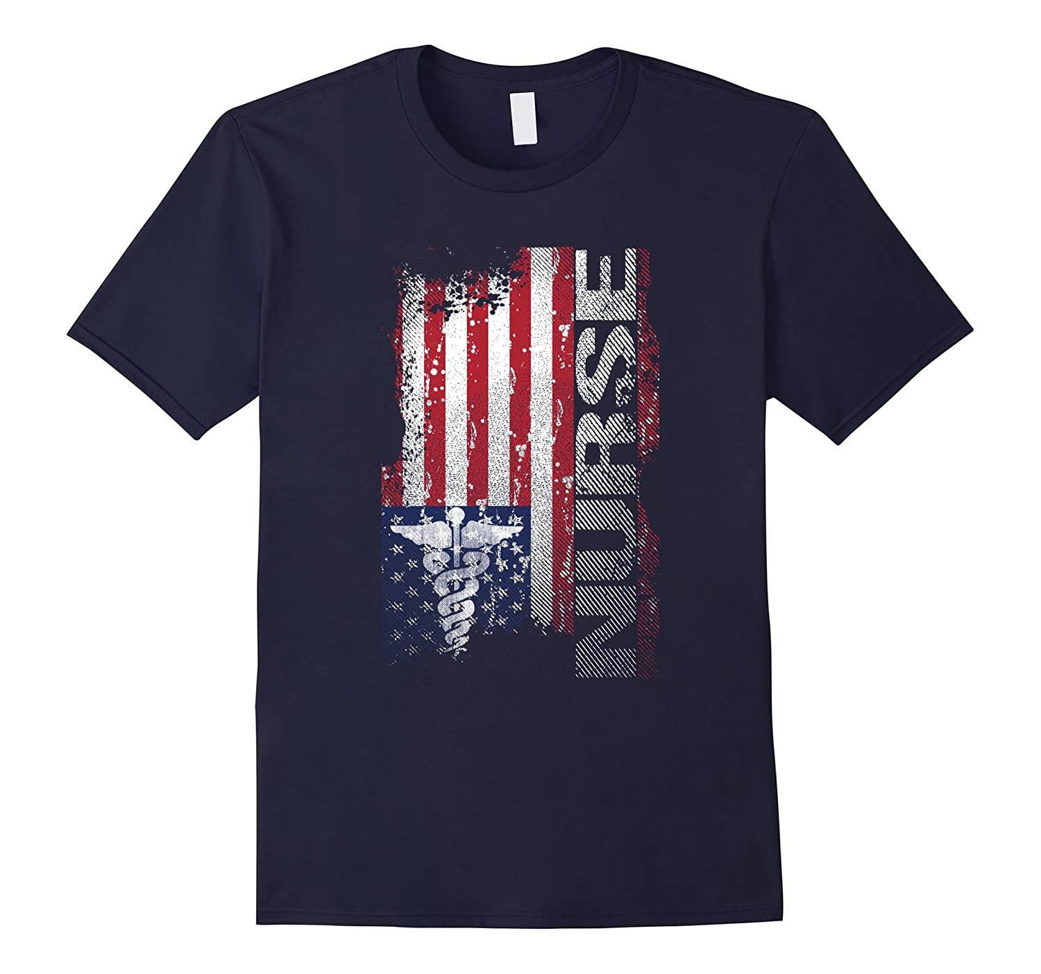 American Flag Caduceus Symbol Nurse T Shirt-CL