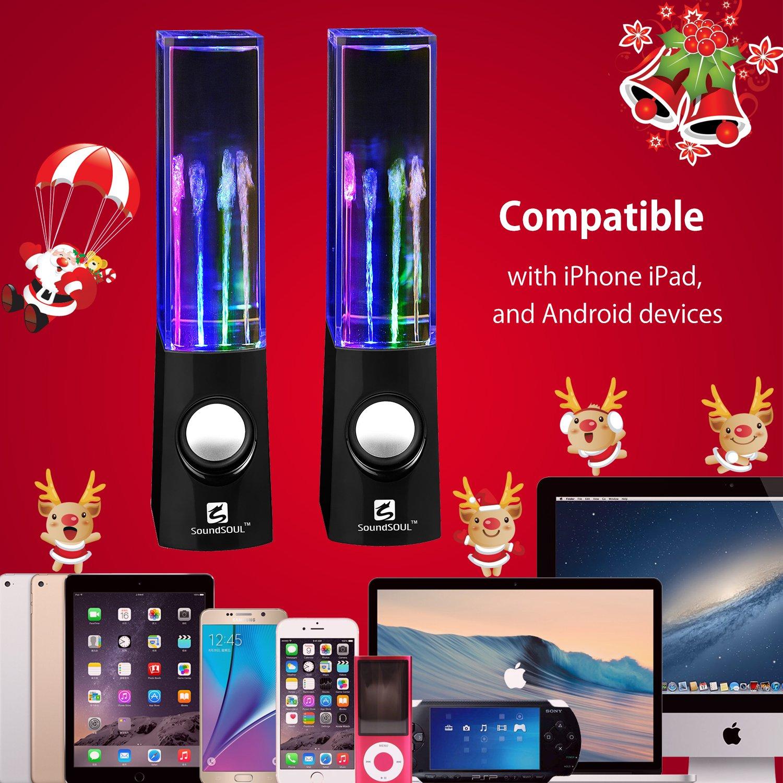 3.5mm Audio Plug, 4 Colored LED Lights, Portable Speakers SoundSOUL Water Dancing Speakers Light Show Water Fountain Speakers LED Speakers Black