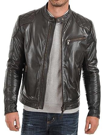efb26888af1 Buybyclick Mens Lambskin Soft Lightweight Leather Jacket Motorcycle Slim  Fit Black (XS)