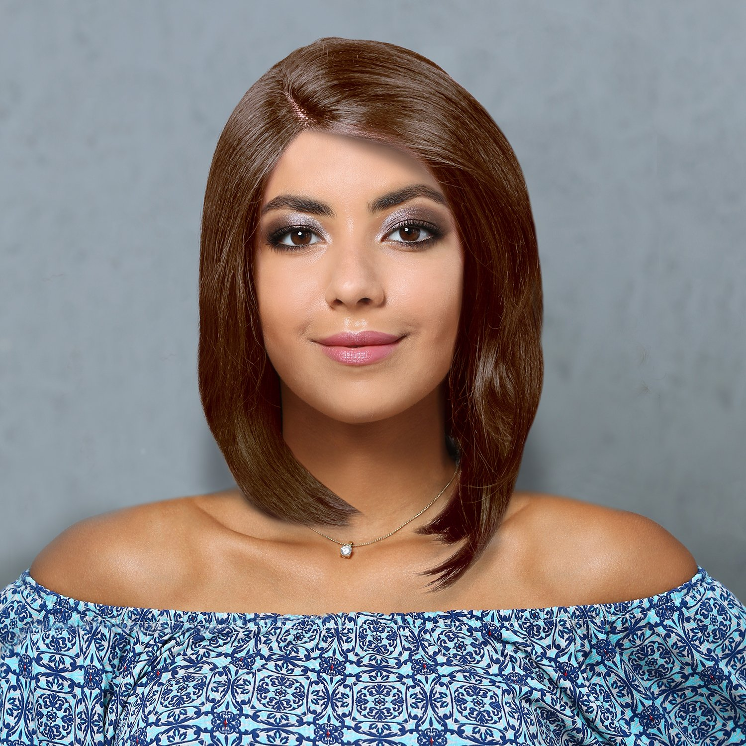 Synthetic Lace Front Wigs Short Bob Straight Wig Natural Looking L Part Heat Resistant Daily Party Full Head Hair Women