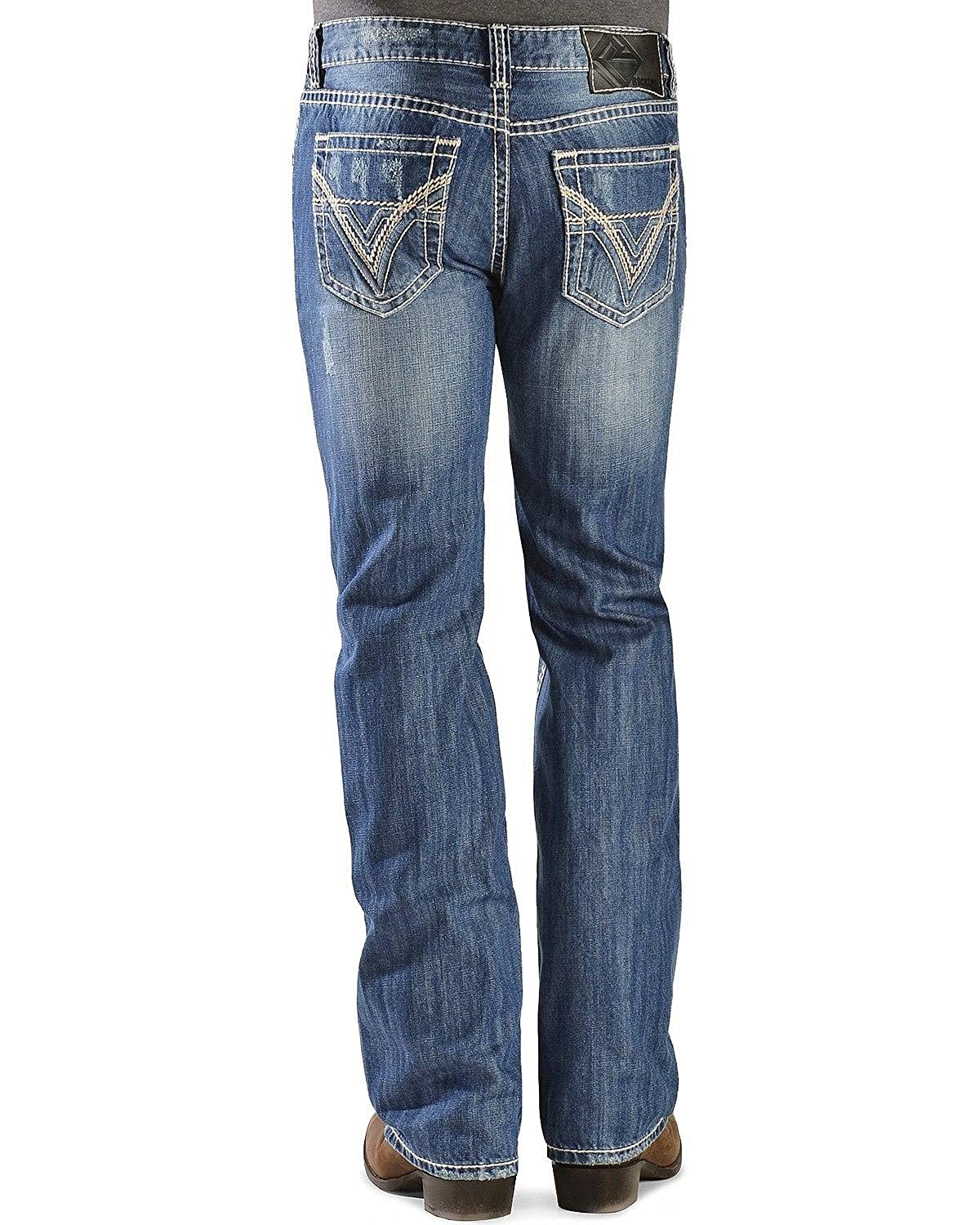 "Rock & Roll Cowboy Men's And Pistol Straight Leg""V"" Pocket Jeans"