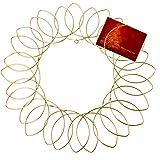"Gold Metal Wreath - Wall Mount Christmas Card Holder - 17""Dia"