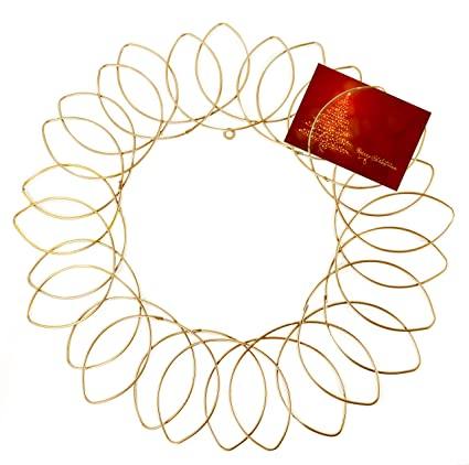gold metal wreath wall mount christmas card holder 17dia - Christmas Card Holder Wall Hanging