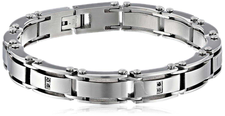 Cold Steel Men's Stainless Steel Black Diamond Bracelet, 8.5