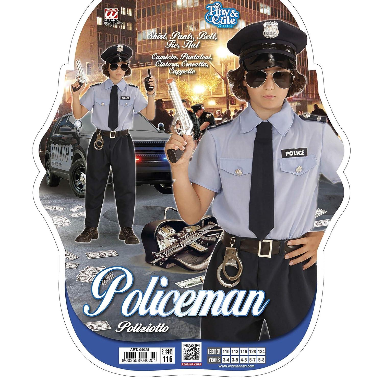 WIDMANN Poliziotto Camicia Pantaloni Cintura Cravatta Cappello Costumi Completo 186