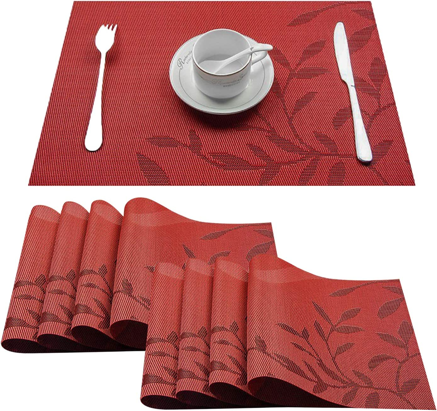 Top Finel Placemats,Plastic Table Mats Set of 8,Heat Resistant Washable Place Mats for Dinner Table,Red