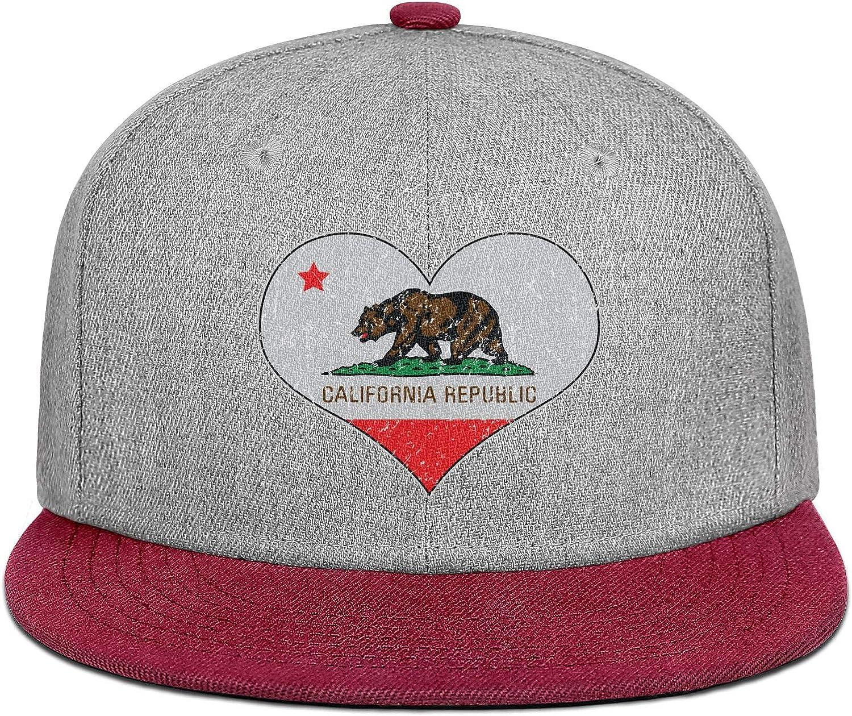 Mens Womens Baseball Hat Love California Bear Flag Snapback Fits Cap
