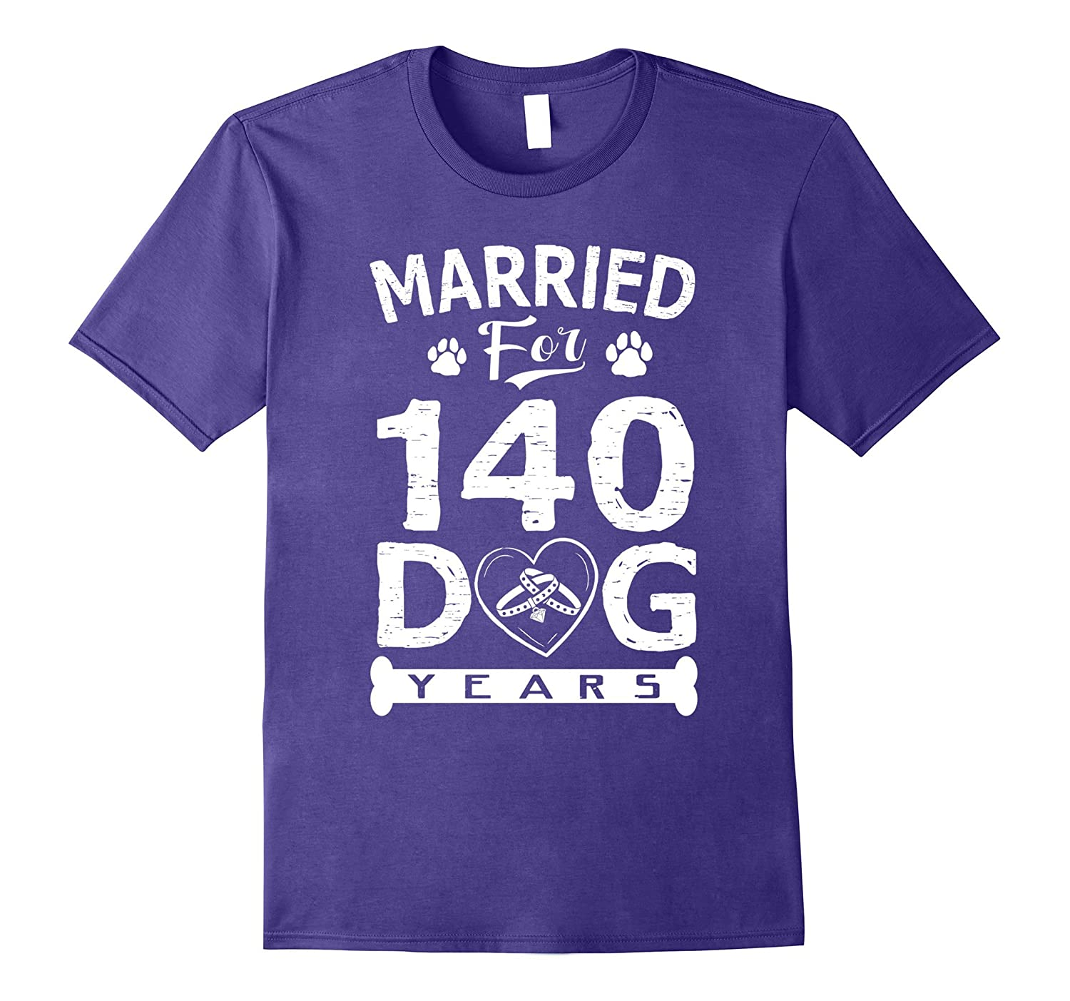 20th Wedding Anniversary T-Shirt Married For 140 Dog Years-ANZ