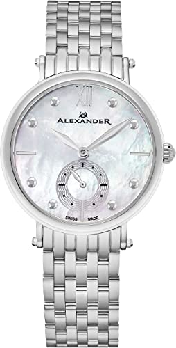 Amazon Com Alexander Monarch Roxana White Mother Of Pearl Large Face Watch For Women Swiss Quartz Stainless Steel Silver Band Elegant Ladies Fashion Designer Dress Watch A201b 01 Alexander Watches
