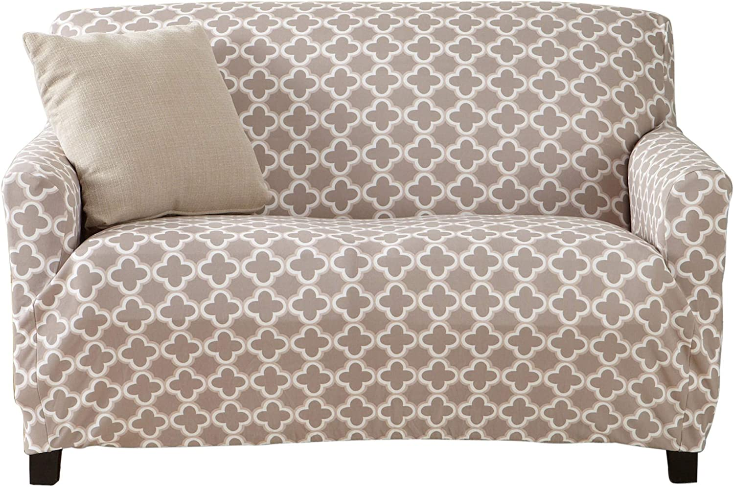 Printed Twill Love Seat Slipcover. One Piece Stretch Loveseat Cover. Strapless Love Seat Cover for Living Room. Fallon Collection Slipcover. (Love Seat, Beige)