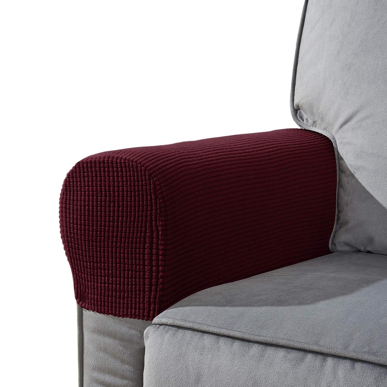 CHUN YI Armrest Covers Set of 2 Jacquard Spandex Polyester Fabric Stretch Slipcovers (Grey) LTD