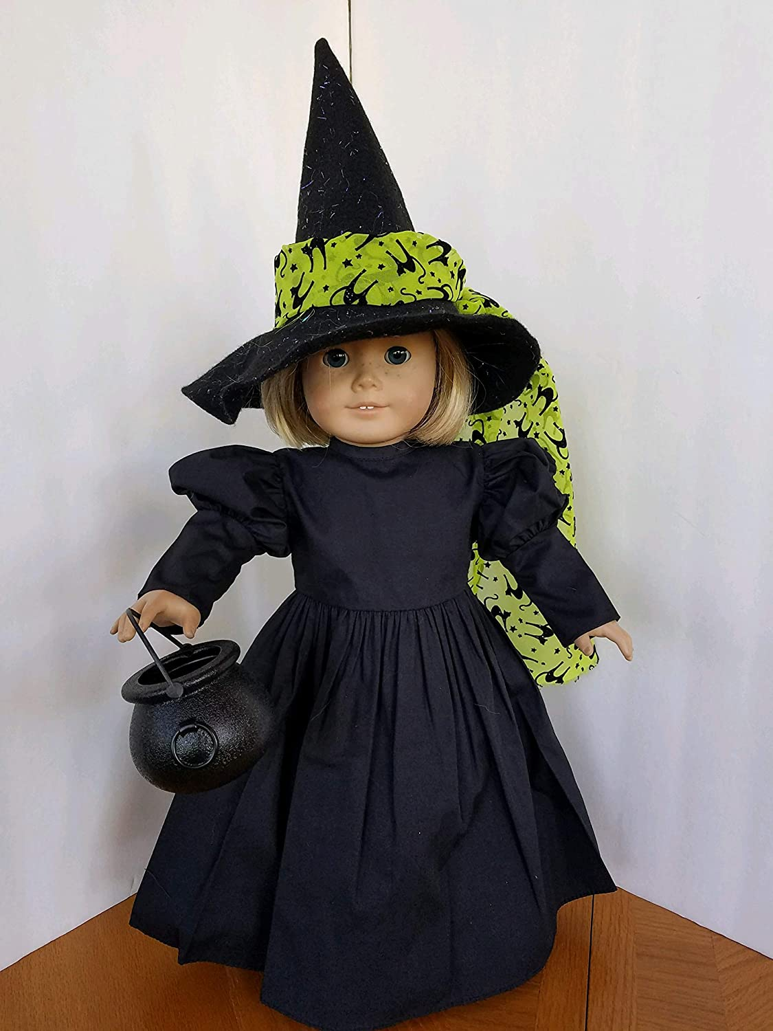 Handmade! Black Witch Costume with Hat Options fits American Girl