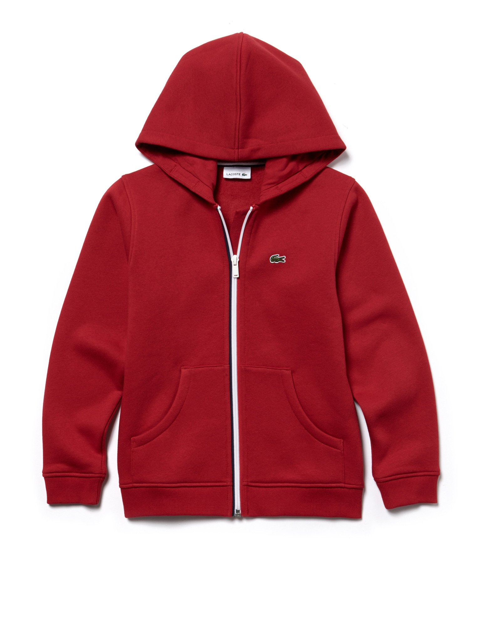 Lacoste Boy's Red Zip Up Fleece Hoodie in Size 16 Years (176 cm) Red by Lacoste