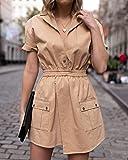 The Drop Women's Golden Sand Short-Sleeve Asymmetric Front Utility Dress by @laurie_ferraro