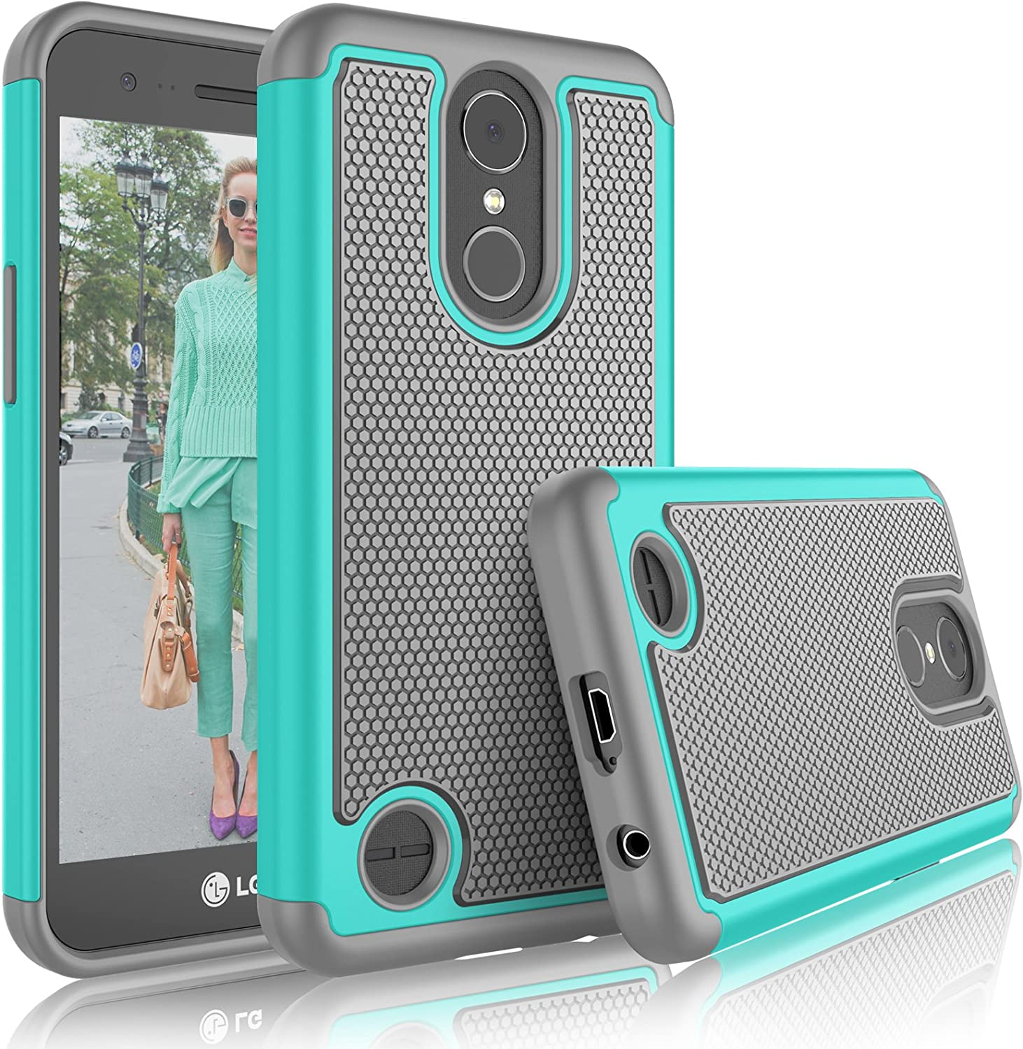 Tekcoo LG K20 V/LG K20 Plus Case, Tekcoo LG Harmony/V5/K10 2017 Cute Case, [Tmajor] Shock Absorbing [Turquoise] Rubber Plastic Scratch Resistant Defender Bumper Rugged Slim Grip Hard Cover Cases