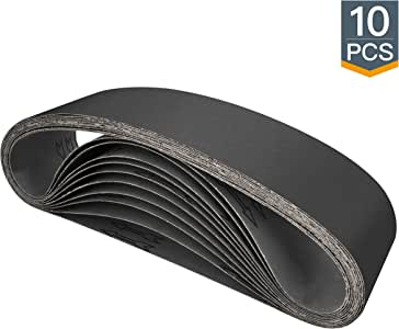 "POWERTEC 456320 4"" x 36"" Sanding Belts, Silicon Carbide Abrasive 320 Grit Sandpaper – 10 Pack"
