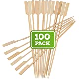 "BAMBOOSUMO 10"" Bamboo Shish Kabob skewers for Grilling | Extra Long | Flat Wood Skewer Shape w/Flag Paddle Handle"