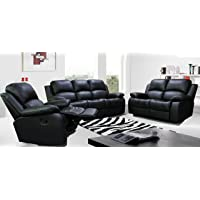 UK Leisure World RECLINER BLACK SOFA SUITES SETTEE GRAY FABRIC 3 2 1 SEATER ARMCHAIR FAUX LEATHER