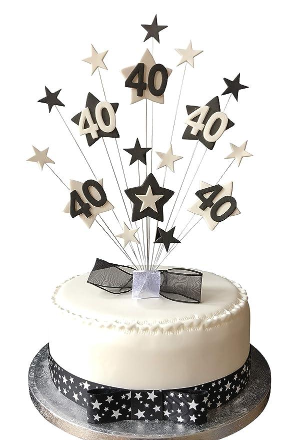 Decoración para Tarta de Karen, diseño de Estrella de 40 ...