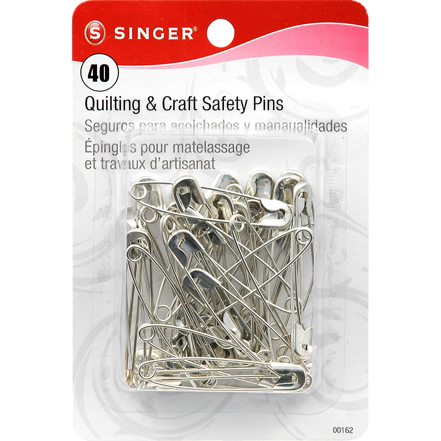 Singer 00162 Large Quilting and Craft Safety Pins, 40-Count Dyno Merchandise