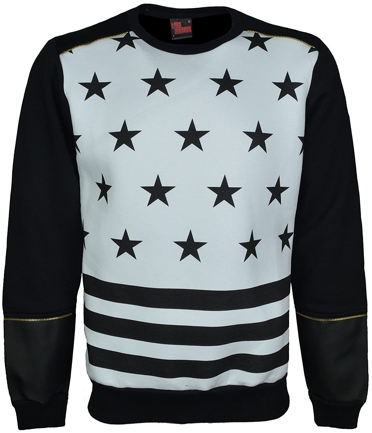 Mens Designer Zipper Stars Print Crew Neck Long Sleeve Faux Leather On Half Arms Sweat Shirt Jumper