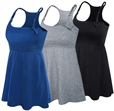939de1c38e451 SUIEK 3PACK Racerback Nursing Tops Tank Cami Maternity Bra Breastfeeding Sleep  Shirt (Small
