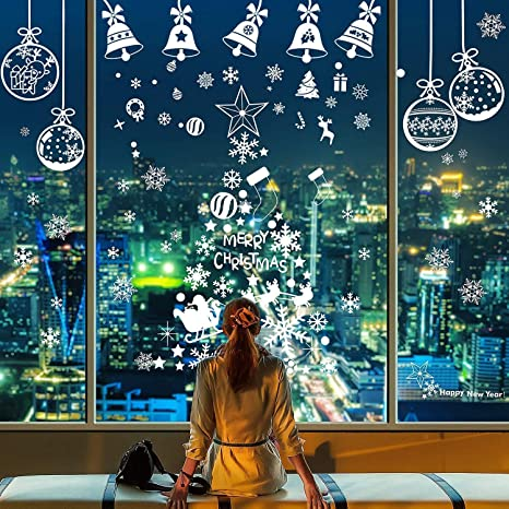 Christmas Tree Window Clings Decals Reusable Xmas Window PVC Static Stickers Ornament DIY Party Supplies for Showcase Windows Glass Doors LessMo Christmas Window Stickers
