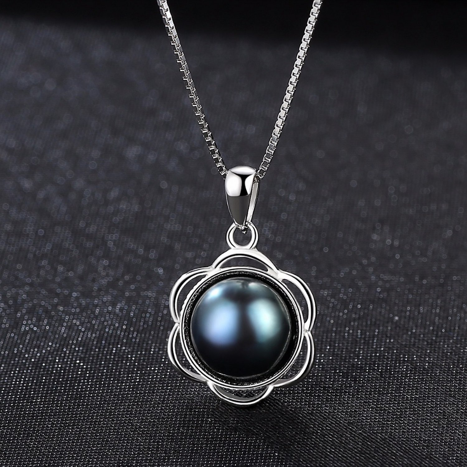 CS-DB Jewelry Silver Black Color Pearl Chain Charm Pendants Necklaces