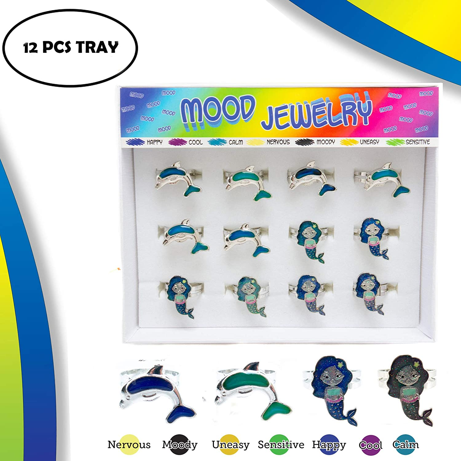 aef59d94 FROG SAC 12 PCs Mermaids & Dolphin Mood Rings Tray for Girls, Kids, Tween -  Cute Color Changing Ring Set - Great Party Favors, Stocking Stuffers, Fun  ...