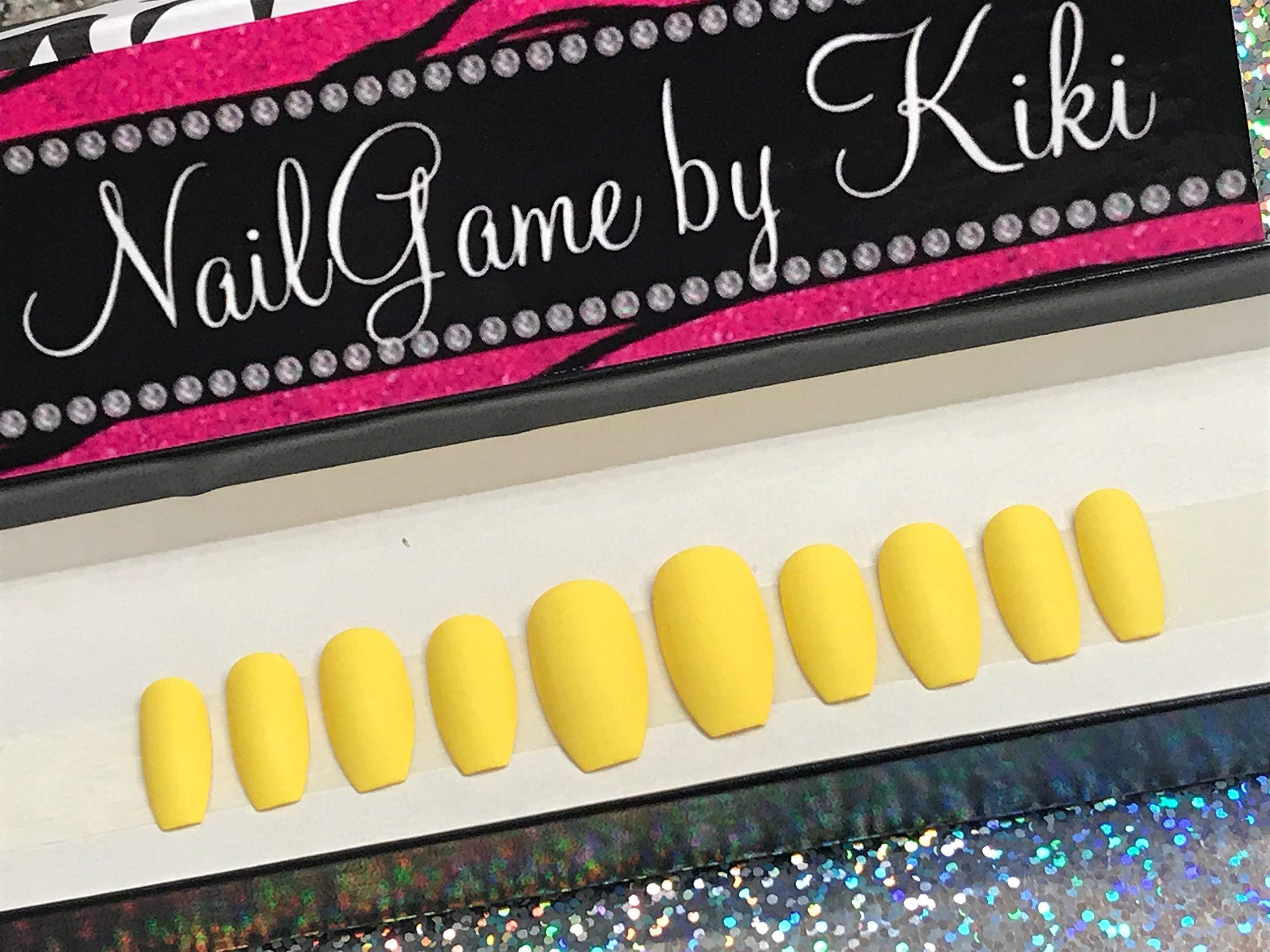 Matte Yellow Hand Designed Nail Set