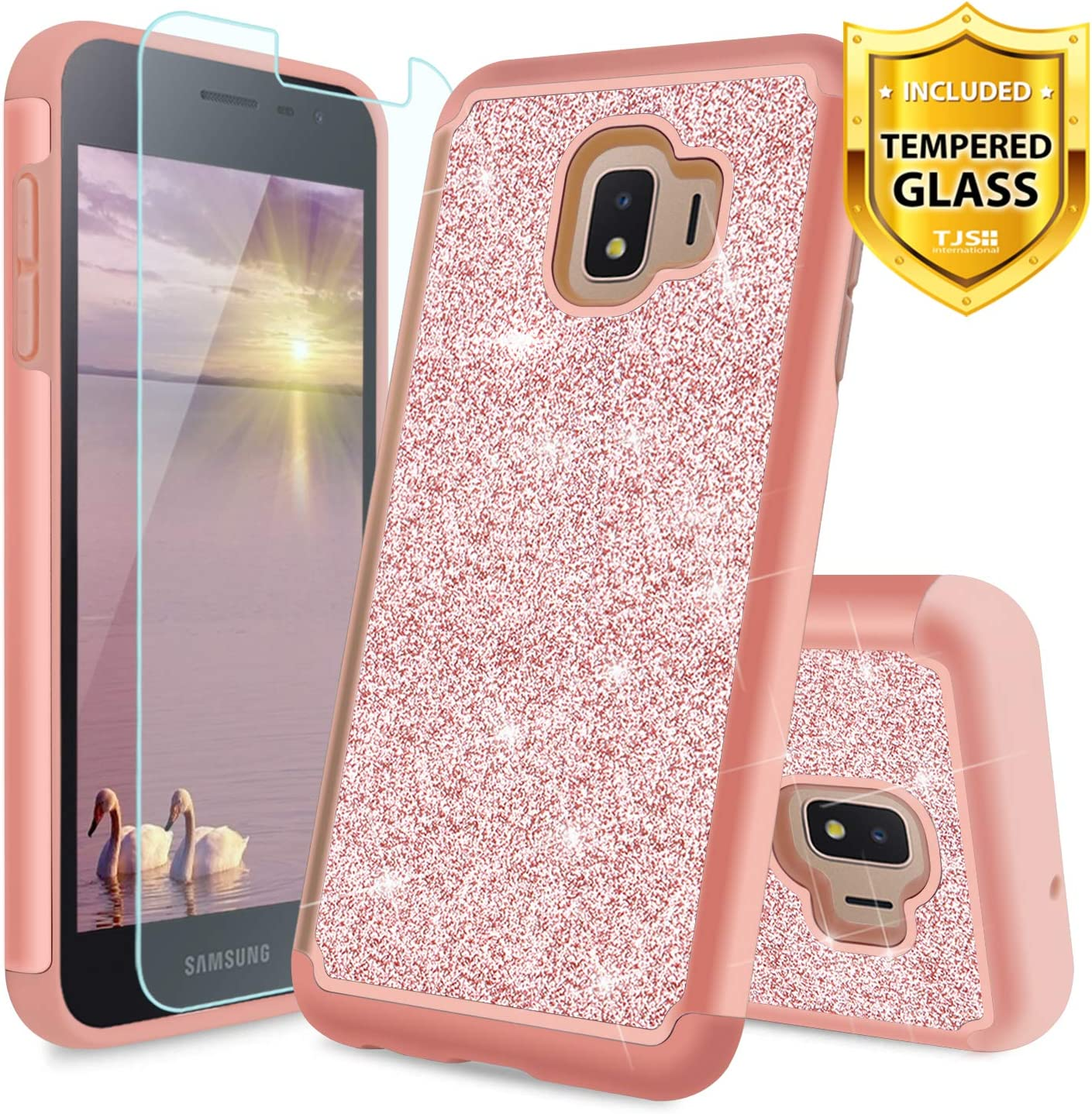 TJS Phone Case for Samsung Galaxy J2 Core/J2 2019/J2 Pure/J2 Dash/J2 Shine, with [Tempered Glass Screen Protector] Glitter Bling Cute Girls Women Design Dual Layer Heavy Duty Hybrid Cover (Rose Gold)