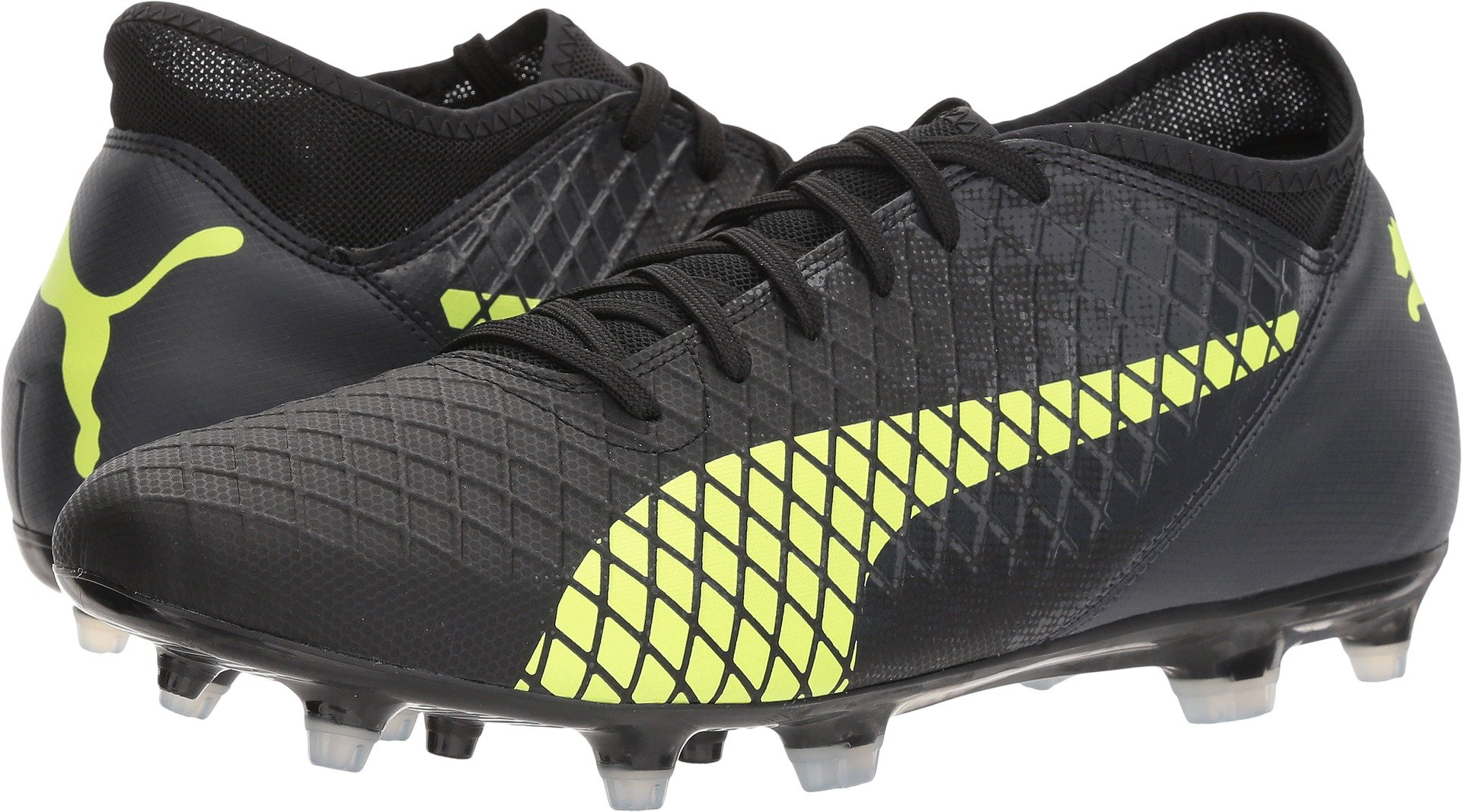 PUMA Men's Future 18.4 FG/AG Soccer-Shoes, Black-Fizzy Yellow-Asphalt, 10.5 M US