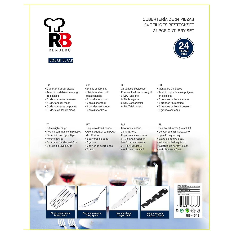 Renberg Squad Black Cubertería de 24 Piezas en Acero Inoxidable, Negro: Amazon.es: Hogar