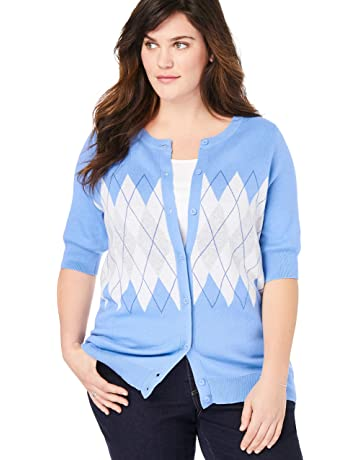 62139fe3c8def9 Woman Within Women's Plus Size Perfect Elbow-Length Sleeve Cardigan