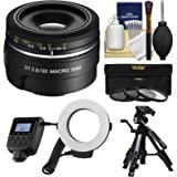 Sony Alpha A-Mount 30mm f/2.8 DT Macro SAM Lens with Macro Ringlight + Tripod + 3 Filters + Kit for A37, A58, A65, A68, A77 II, A99 Cameras