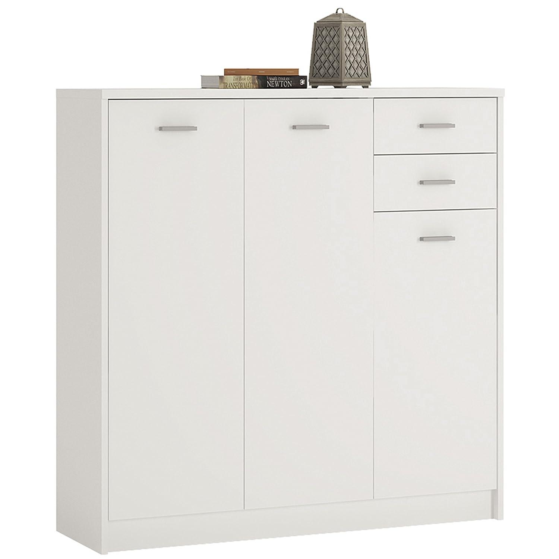 P&N Homewares Crescita Tall 3 Door 2 Drawer Cupboard White | Cupboard Storage | Furniture | 109.1cm Wide