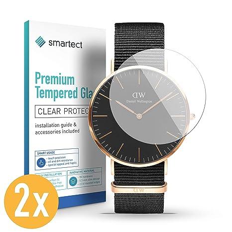 smartect Protector de Pantalla para Reloj Universal de Pulsera/smartwatch (36 mm) [2 Unidades] - 9H Cristal Templado - Diseño Ultrafino - Instalación ...