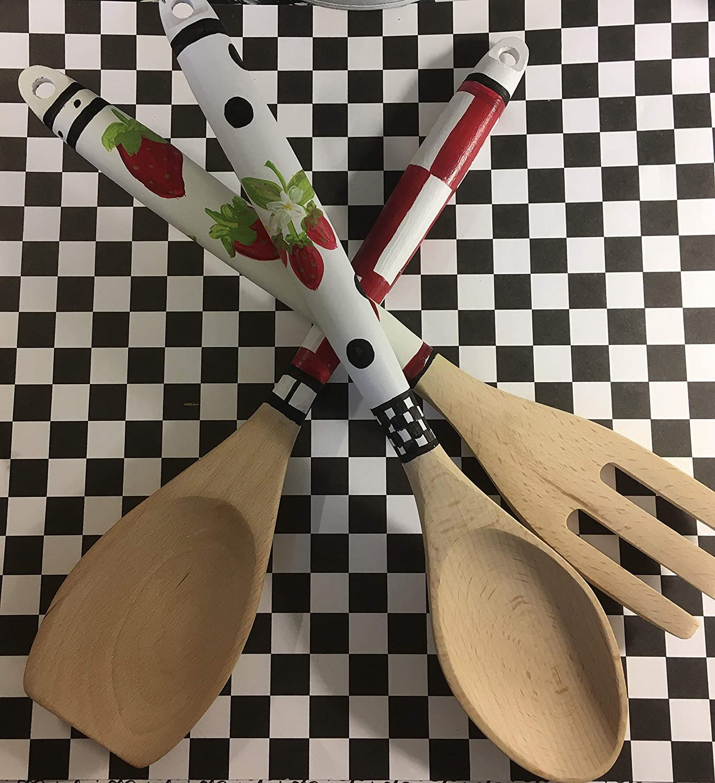 Strawberry Serving Utensils Set Wood