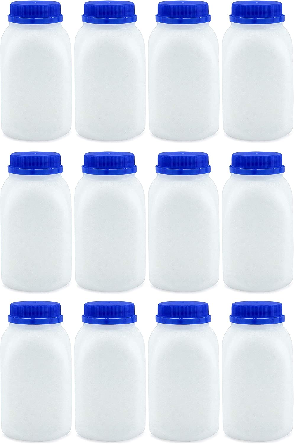 8-Ounce Plastic Milk Bottles (12-Pack); HDPE Bottles Great for Milk, Juice, Smoothies, Lunch Box & More, BPA-Free, Dishwasher-Safe, BPA-free