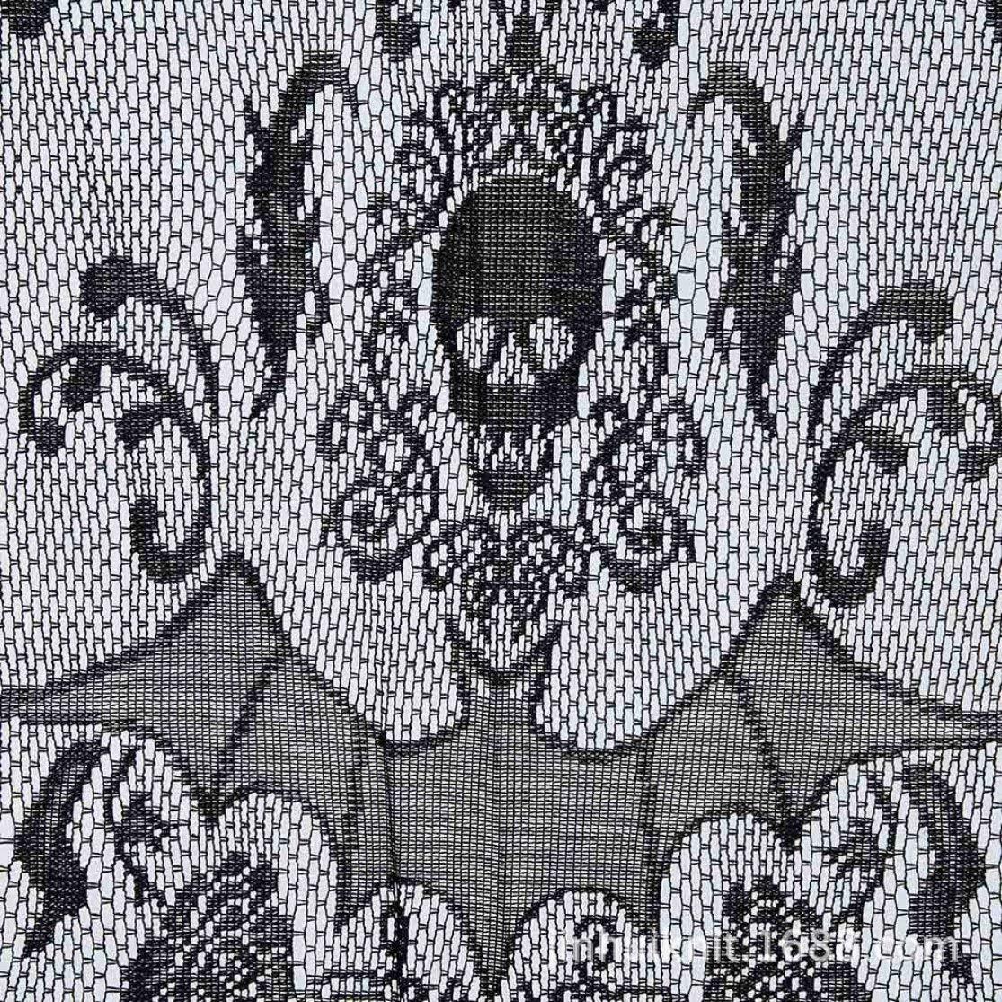 Kaemma Decoraci/ón de Halloween Cortina de Cabeza de Calavera de Halloween Cortina de Cabeza de Calavera de Encaje de Halloween Cortina de Cabeza de Calavera de Terror con Borla Color: Negro