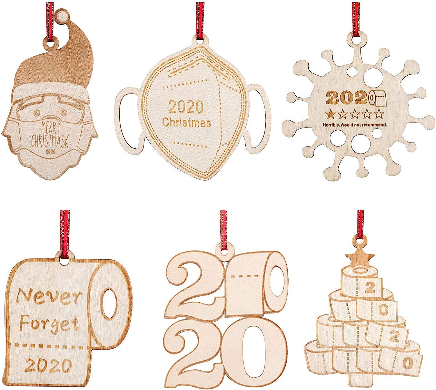 Tetor 2020 Christmas Ornament Quarantine Personalized Engraved Rustic Wood Hanging Decorating Toilet Paper Ornament 2020 Keepsake for Family Christmas Tree Decorations (Style 1)
