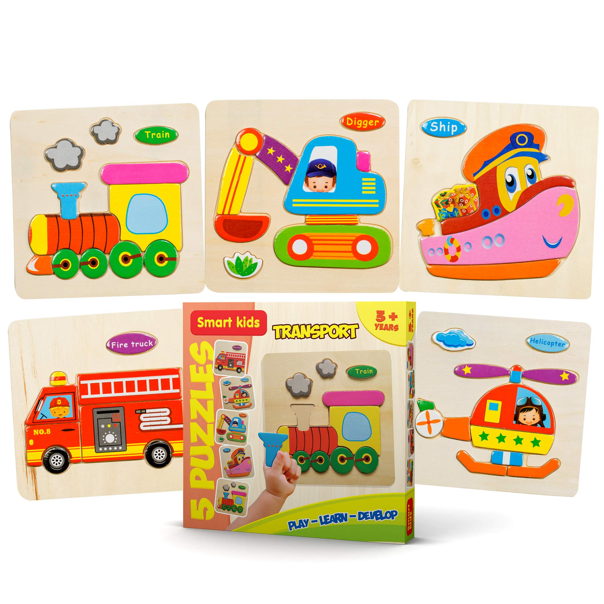 Wooden Puzzles for Toddlers - New set of 5 kids puzzles - Baby puzzles age 3+ Toddlers Puzzles for Boys and Girls - TRANSPORT set - Train - Helicopter - Fire truck - Ship - Digger - 2018 NEW (43 pcs.)