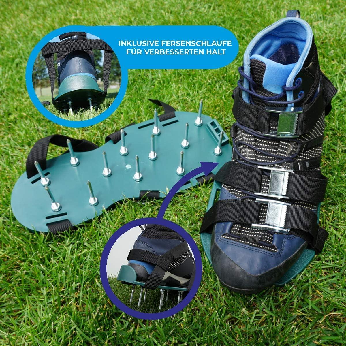 Keepa - Zapatillas de escarificación para césped con clavos inoxidables y 4 correas tensoras incluidas en el talón