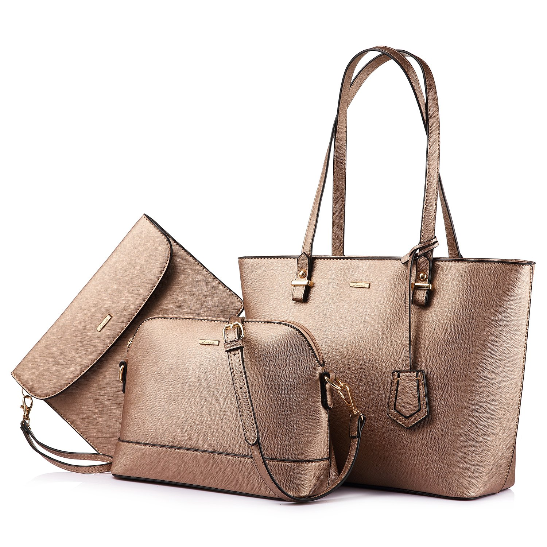 Handbags for Women Tote Bag Designer Shoulder Bags Top Handle Satchel PU Vegan Leather Purse Set 3PCS Stylish Golden Brown Bronze Gold